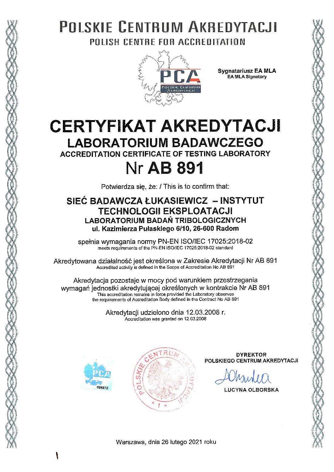 ab 891 certyfikat